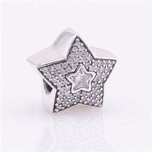925 Sterling Silver Jewelry Pave Wishing Star Charm Beads for Jewelry Making DIY Fine Fits Pandora Charms Bracelet FL103