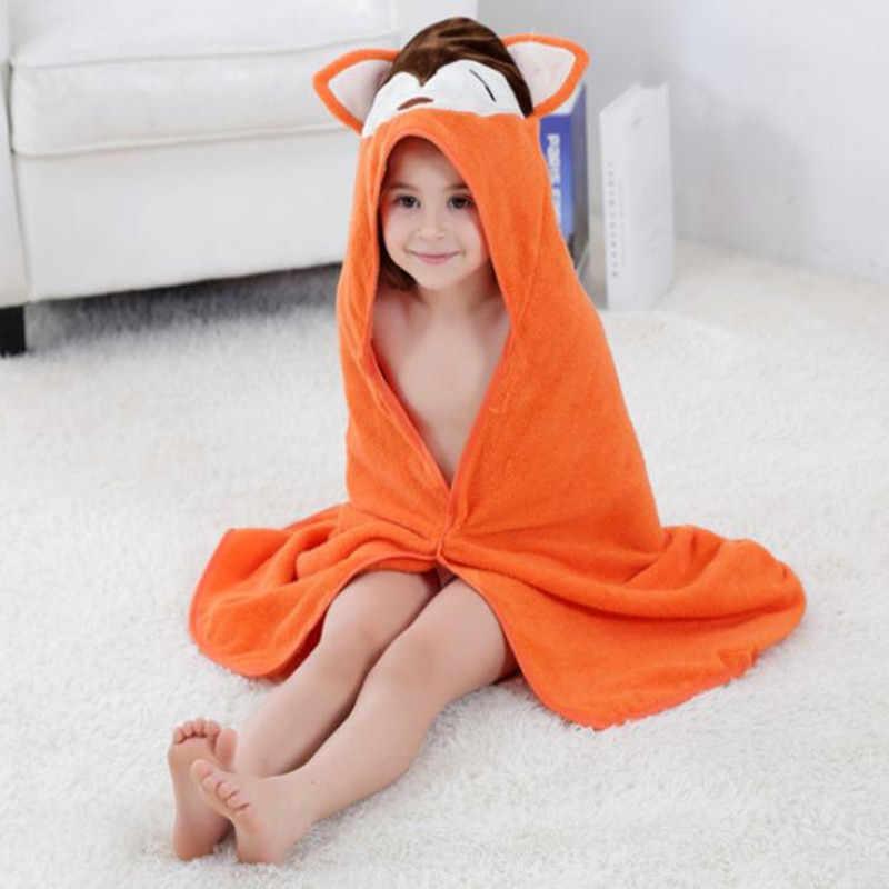 Оранжевый детский халат 100% Хлопковое полотенце для детей с капюшоном банное полотенце для маленьких мальчиков и девочек 0-6 лет.
