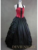 Элегантный Красного и черного цветов Холтер готический викторианской платье