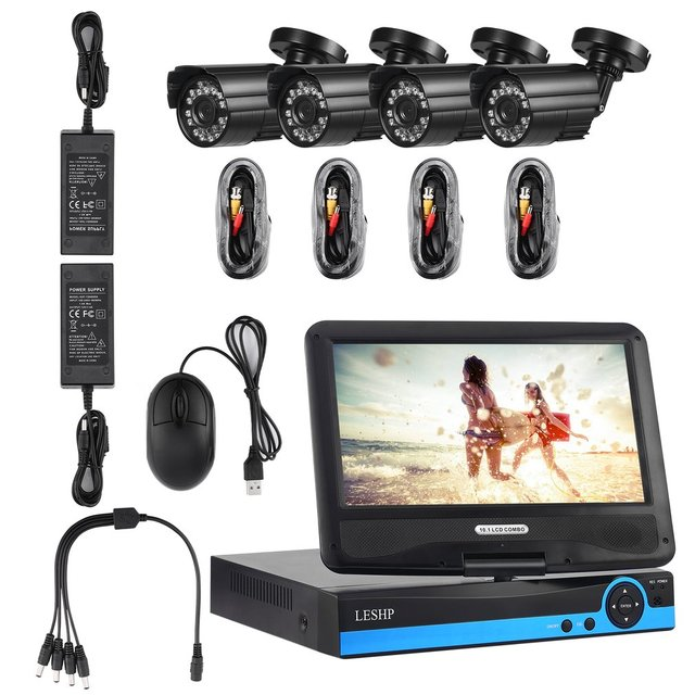 Video Surveillance System 4pcs AHD Camera Set with 10 inch LCD Monitor  LESHP 4 Channel 960P HD DVR CCTV  Live view On Tablet Or Phone, Plug And Play