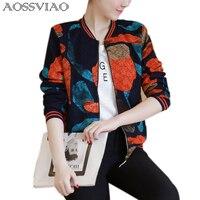 2017 Women Jacket Brand Tops Flower Print Girl Plus Size Casual Baseball Sweatshirt Button Thin Bomber