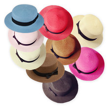 Round Flat Top Straw beach hat women Boater sun caps Ribbon  Panama Hat summer hats for women straw hat snapback gorras 9 colors chic black ribbon embellished summer straw hat for women