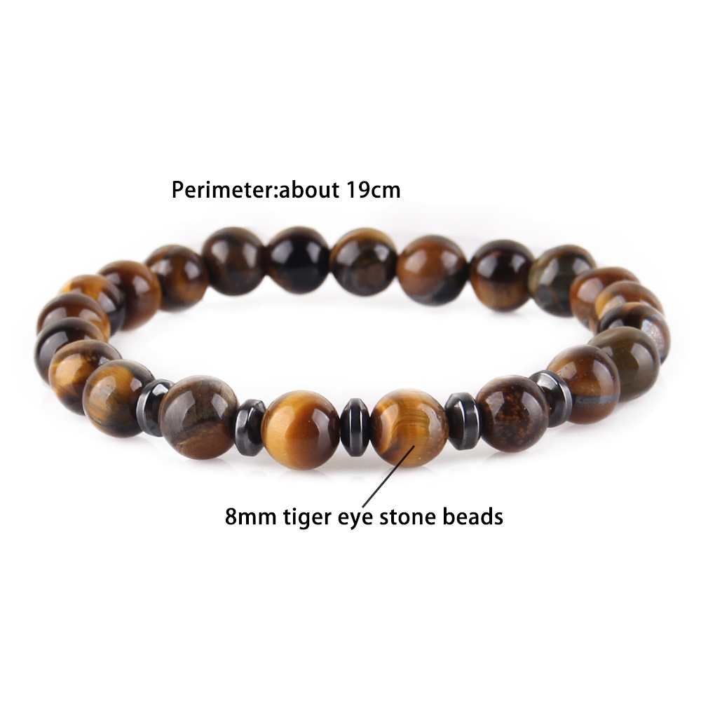 WML fashion wrist wear Hematite charm tiger eye beads Natural stone beads Bracelets Bangles for mens jewellery pulseras mujer in Charm Bracelets from Jewelry Accessories