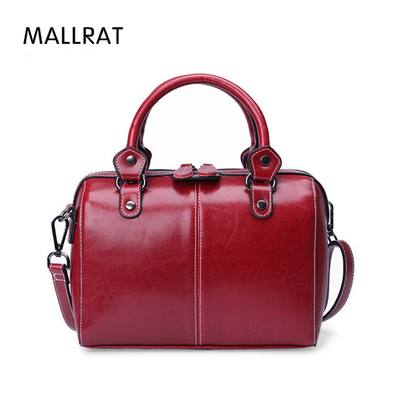MALLRAT Cow Leather Ladies Women Genuine Leather Handbag Shoulder Bag High Quality Designer Luxury Brand Boston Crossbody Bag women genuine leather handbag fashion trend shoulder bag office lady tot high quality designer luxury brand boston crossbody bag