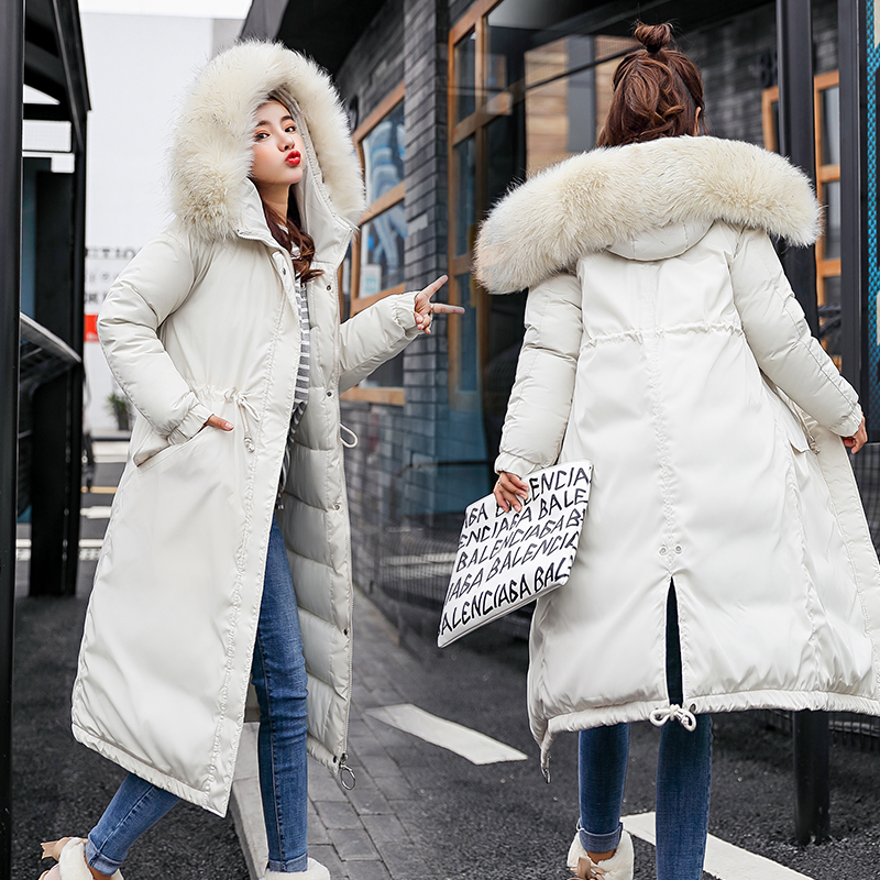 New Large Fur Collar Winter Coats Women Letter Slim Thick Warm Cotton   Parkas   Medium-long Hood Casaco Feminino Inverno