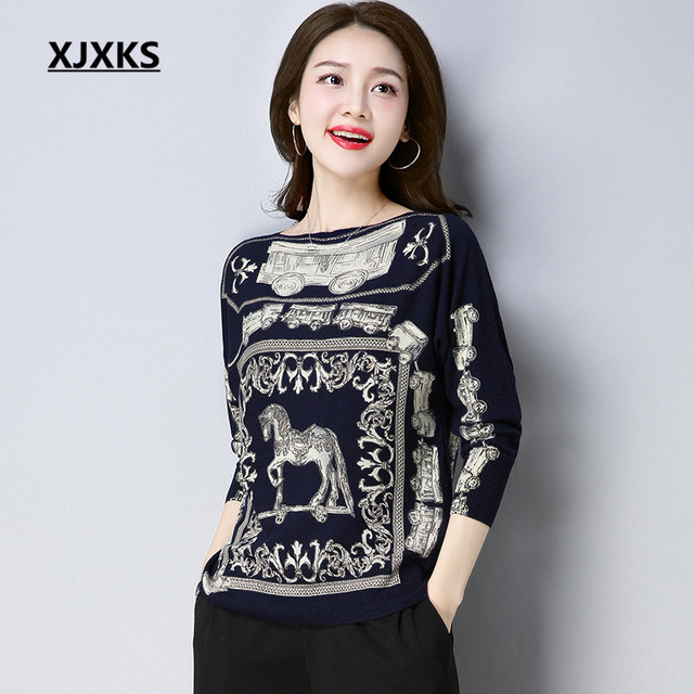 XJXKS Ladies Clothing Solid Knitted High Quality Women Sweater Horse  Patterns Slash Neck Woman Pullover Sweaters 7a1a480ad