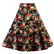 Women Midi Pleated Skirts Vintage 50s 60s Flower Printed Summer Skirts Ball Gown High Waist Audrey Hepburn Swing Skirts 2018
