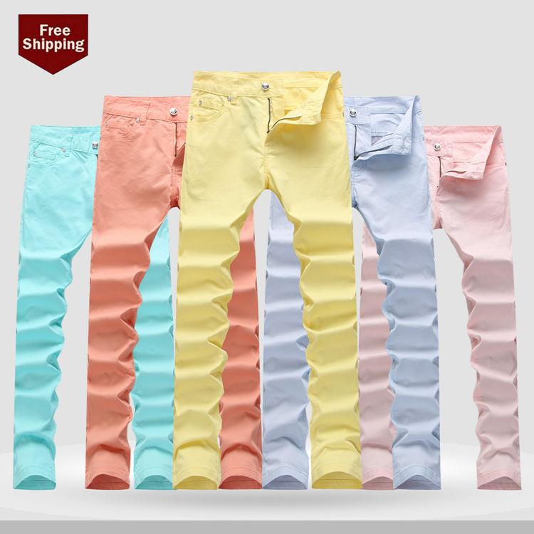 ФОТО   Fashion New   Man Solid Denim Trousers Fashion Slim Casual Jeans