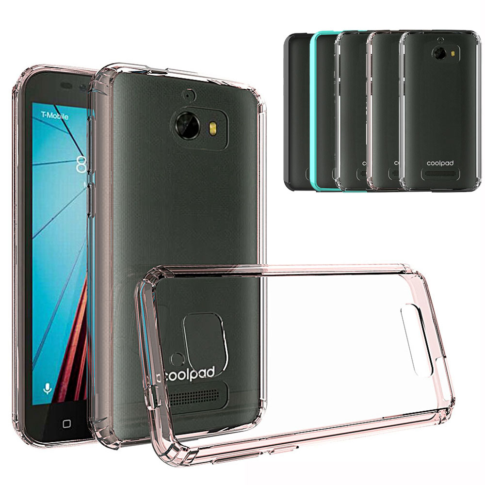 Transparent Clear Hard Acrylic Back Soft TPU Frame Case For Coolpad Defiant 3632 Shockproof Thin Cover For CoolPad Defiant 3632@