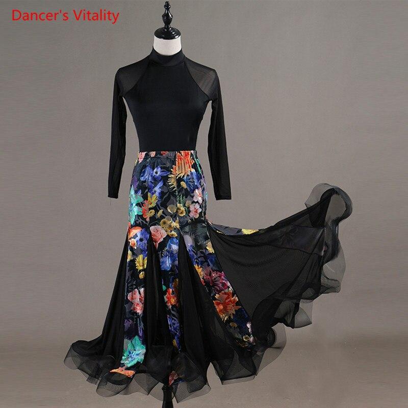 Latin Dance Comtumes Practice Suit Tops+Big Swing Skirt 2Pcs Set For Women Girls Latin Ballroom Dance Performance Clothes