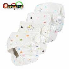 Детские многоразовые подгузники из чистого хлопка, водонепроницаемые стираемые тканевые подгузники для мальчиков и девочек