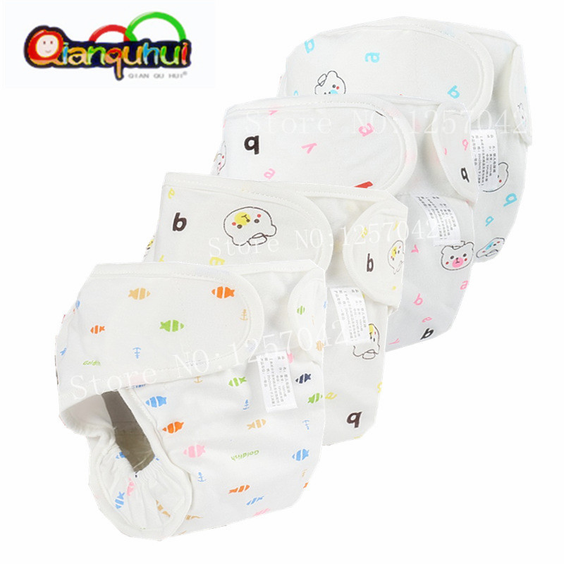 купить Pure Cotton Baby Reusable Nappies Diaper Waterproof Washable Cloth Diapers Cover Boy Girl Underwear Nappy Changing по цене 64.6 рублей