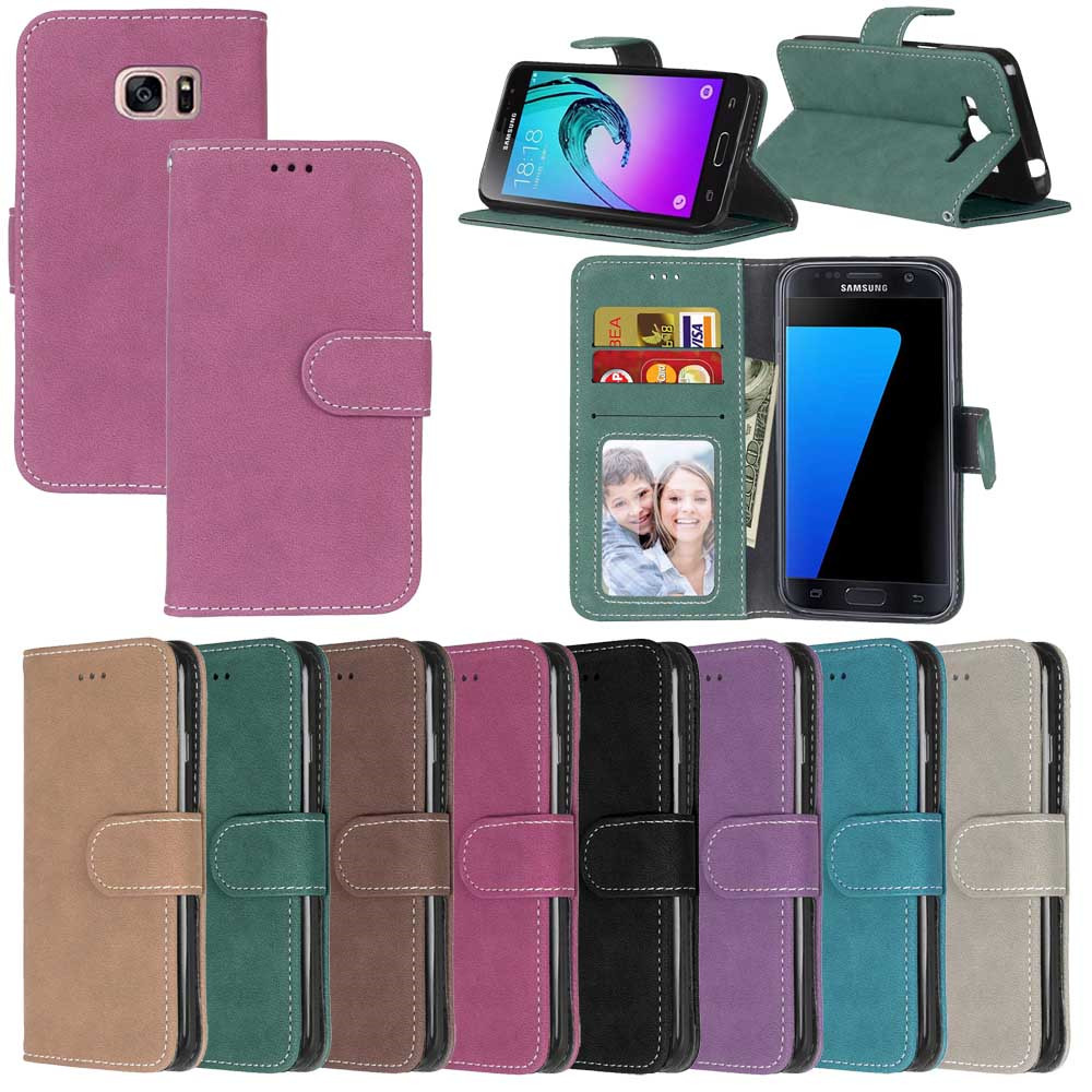 Luxury Flip Matte Leather Case For Samsung Galaxy S3 S4 S5 S6 S7 Edge S8 S9 Plus Cover Cases For Sumsung S3 S4 S5 S6 S7 S8 S9