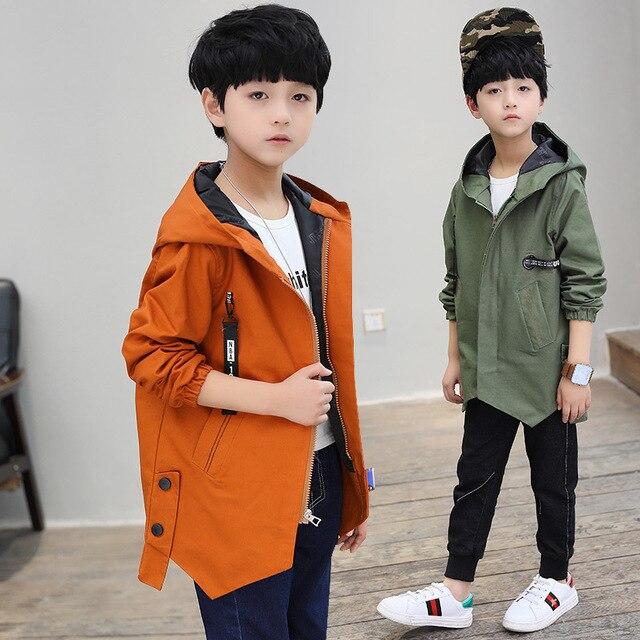 Мальчиков Повседневное хлопковая куртка 2018 осень новый продукт большая детская лямки футболка с надписью для мальчиков длинный плащ на молнии ветрозащитное пальто