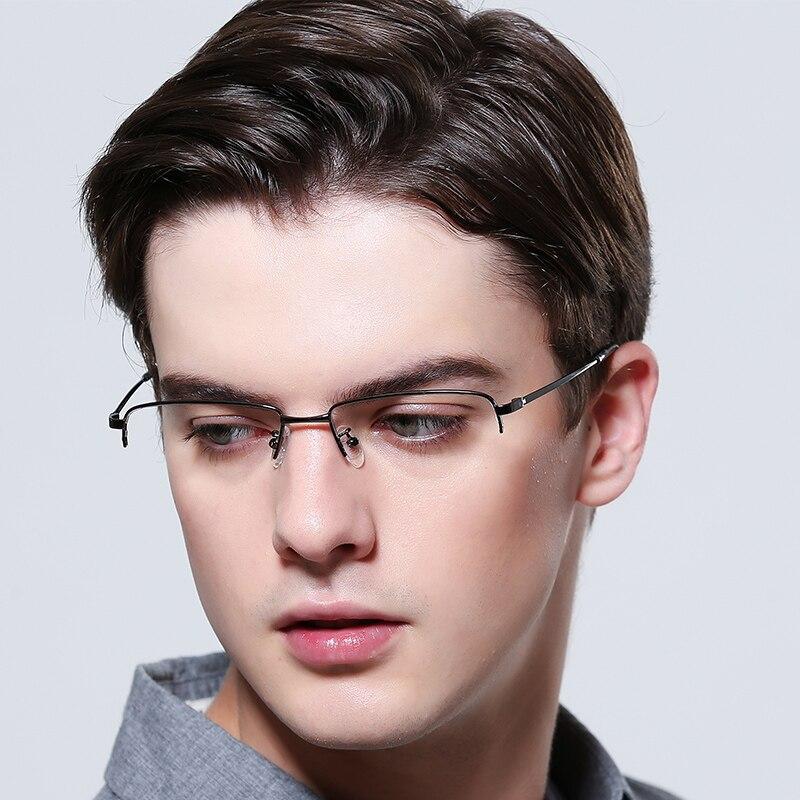 FENCHI men glasses frame bueiness myopia glasses vintage transperent optical clean anti blue lens metal semi rimless frame in Men 39 s Eyewear Frames from Apparel Accessories