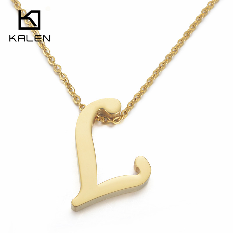 Kalen new capital letter l pendant necklaces for men women kalen new capital letter l pendant necklaces for men women stainless steel gold color thick letter l necklaces unisex jewelry in pendant necklaces from aloadofball Gallery