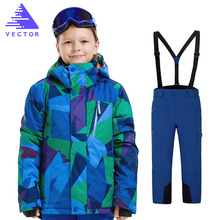 Kids Clothes Winter Ski Suit Waterproof Kids Ski Jacket Ski Pants High Quality -20 Degree Winter Warm Ski Jacket for Boys Girls стоимость