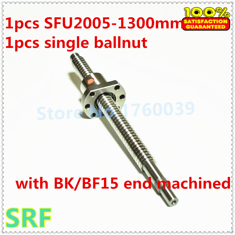 20mm Rolled Ballscrew 2005 L=1300mm C7  ball screw+1pcs Flange single ballnut with BK/BF15 end processing for CNC part