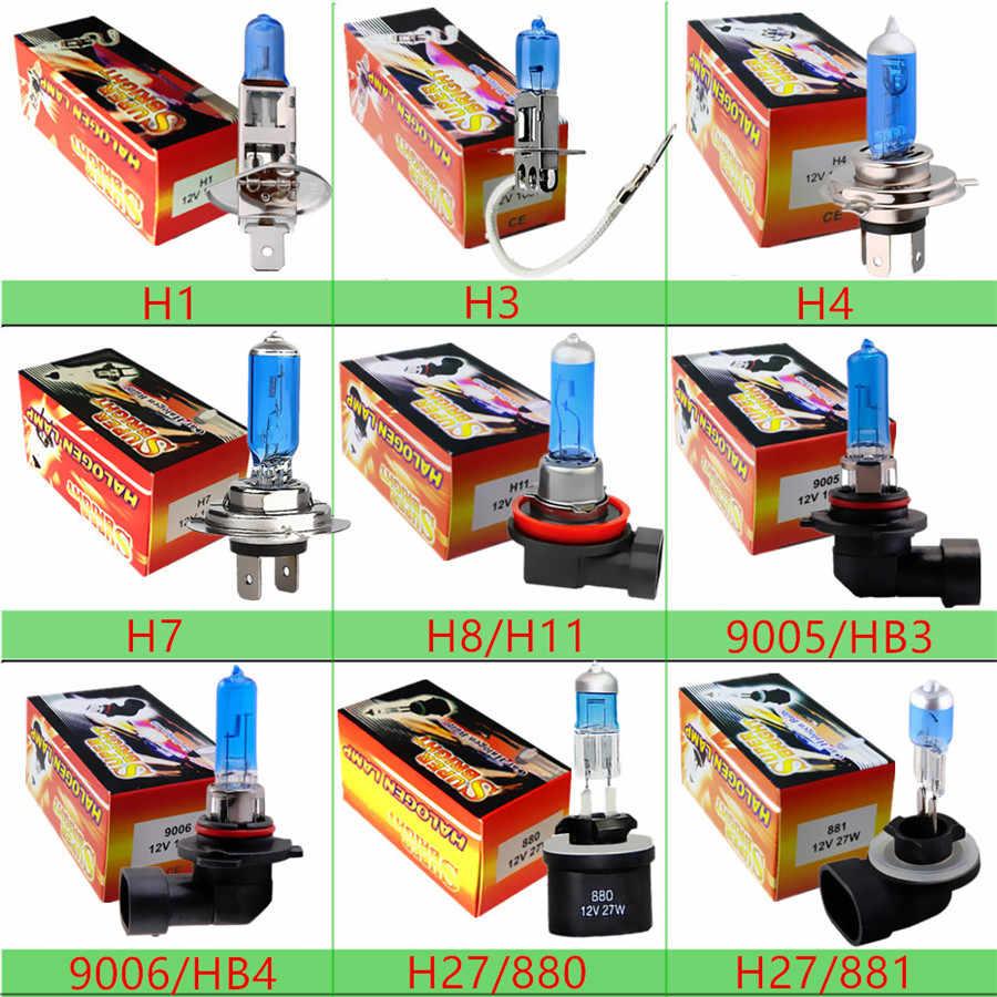 55W 12V 100W H1 H3 H4 H7 H8 H9 H11 9005 Hb3 9006 HB4 Car Headlight Bulbs Halogen 100W 5000K White Auto HeadLamp Halogen