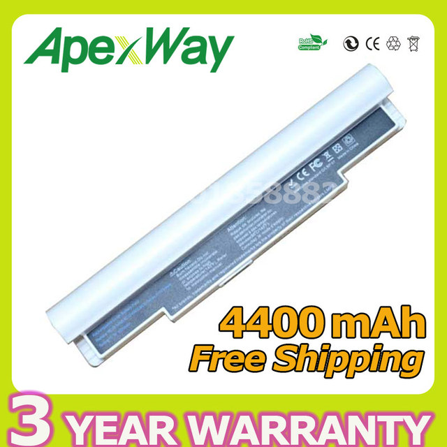 Apexway 4400mAh white Laptop Battery For Samsung NC10 NC20 ND10 N110 N120 N130 N135 N140 N270B AA-PB6NC6W 1588-3366 AA-PB8NC6B
