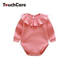 ФОТО touchcare newborn ruffles neck romper baby girls cotton pijamas infant jumpsuits toddler girls summer clothing children costume