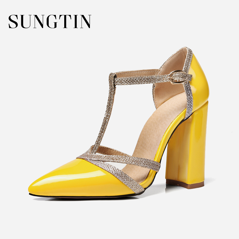 Sungtin Sexy Bling Ankle Strap Gladiator Sandals Summer Women Block Heel Party Pumps Lady Pointed Toe High Heels Large Size цена 2017