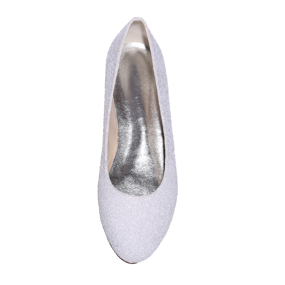 Creativesugar Special touching 3D glitter closed toe flats white woman  Casual wedding bridal party prom comfortable shoes slipon-in Women s Flats  from Shoes ... 188ba188d333