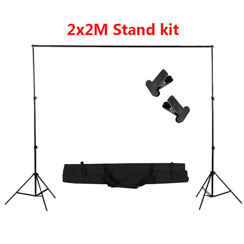 Professional 2x2M Photo Studio Photography Background Support Backdrop Stand Kit+Portable Carry Bag+Clips 2 8m x 3m pro adjustable background support stand photo backdrop crossbar kit photography stand 3 clips for photo studio
