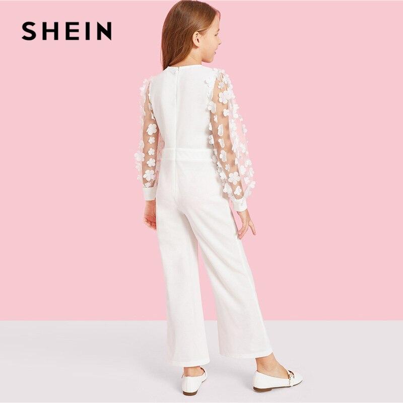 SHEIN Kiddie White Applique Mesh Sleeve Keyhole Neck Elegant Jumpsuit Teenager 2019 Spring Long Sleeve Wide Leg Girls Jumpsuits