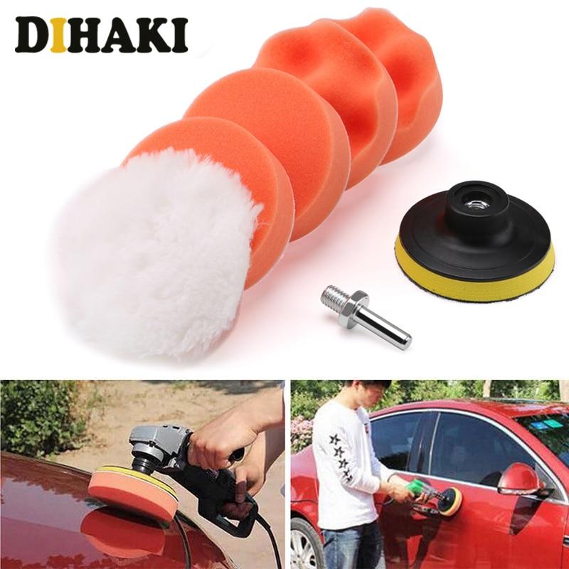 6Pcs Buffing Pad Set Thread 3 Inch Auto Car Polishing Pad Kit For Car Polisher + Drill Adaptor M10 Power Tools Accessories
