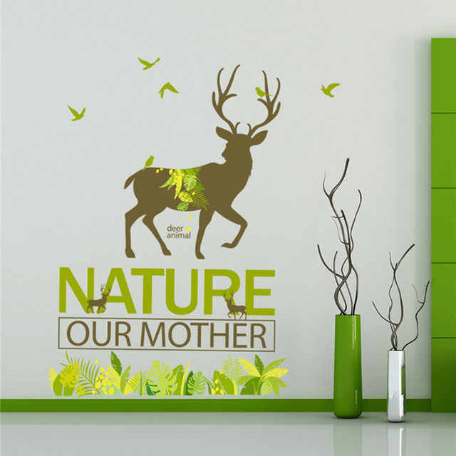 Nature Forest Deer Wall Sticker Livingroom Home Decor Posters Wall Decals  Simple
