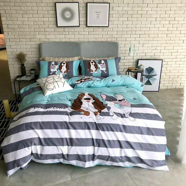 5dd1771590 TUTUBIRD-Satin Dog print bedding set bed linens 100% Cotton cartoon  Pastoral Kids adult. Mouse over to zoom in