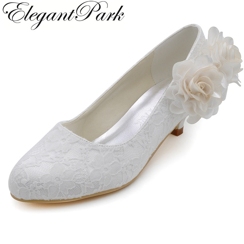 Women wedding lace shoes ep2130 ivory round toe low heel for Comfortable wedding dress shoes