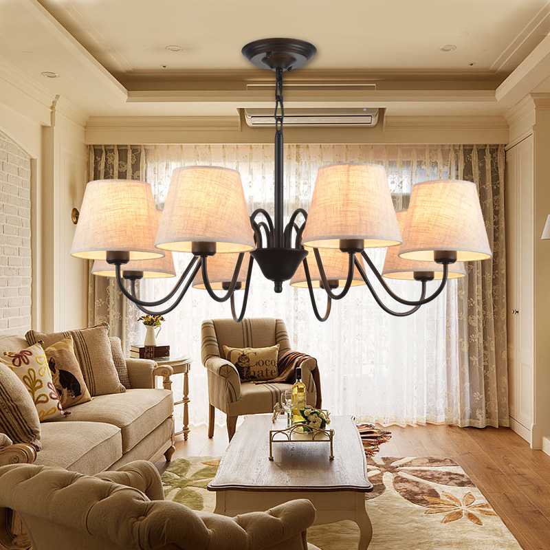 LED with Linen Lampshades E27 Cloth Chandeliers For Living Room RomanticLED with Linen Lampshades E27 Cloth Chandeliers For Living Room Romantic