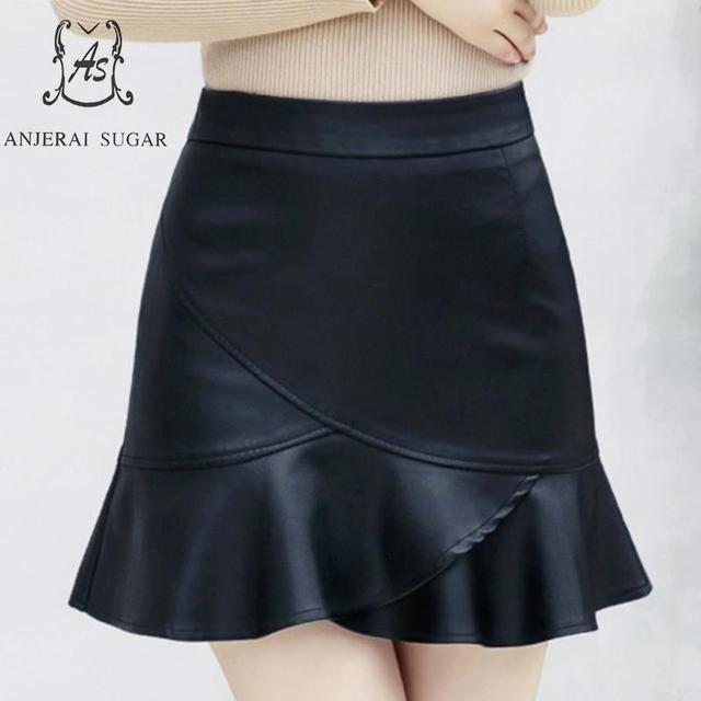 Autumn winter women PU leather skirt black slim Faux leather skirt sexy High waist flouncing female Package hip short skirt