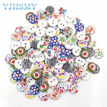 YJHSMY 179221,A variety of patterns combined 100, print 2 holes wooden button 15mm sewing clip art tools, clothing accessories