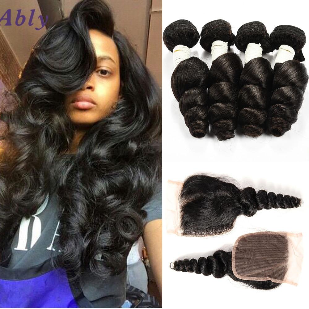Brazilian Loose Wave With Closure 8a Brazilian Virgin Hair With Closure Human Hair Loose Wave Peerless Virgin Hair With Closure