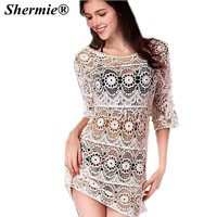 Large Size Bathing Suit Cover Ups 2016 Crochet Cover Up Coverup Swimwear White Flower Design Beach