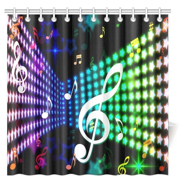 Jazz Music Decor Shower Curtain Celebration Festival Theme Colorful Artwork With Notes Bathroom