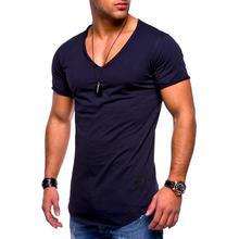 2019 verão Quente vender Homens V pescoço t shirt  de curta tops manga Casuais alta qualidade Dos Slim Fit Clássic