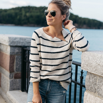 100% silk blouse women lightweight fabric striped printed plus o neck ruffles half sleeves loose casual tops new fashion 2017 Loose Striped Casual Oversized Women Sweater 2019 Autumn Winter Zipper O-neck Femme Pullover Long Sleeves Women Fashion Sweater