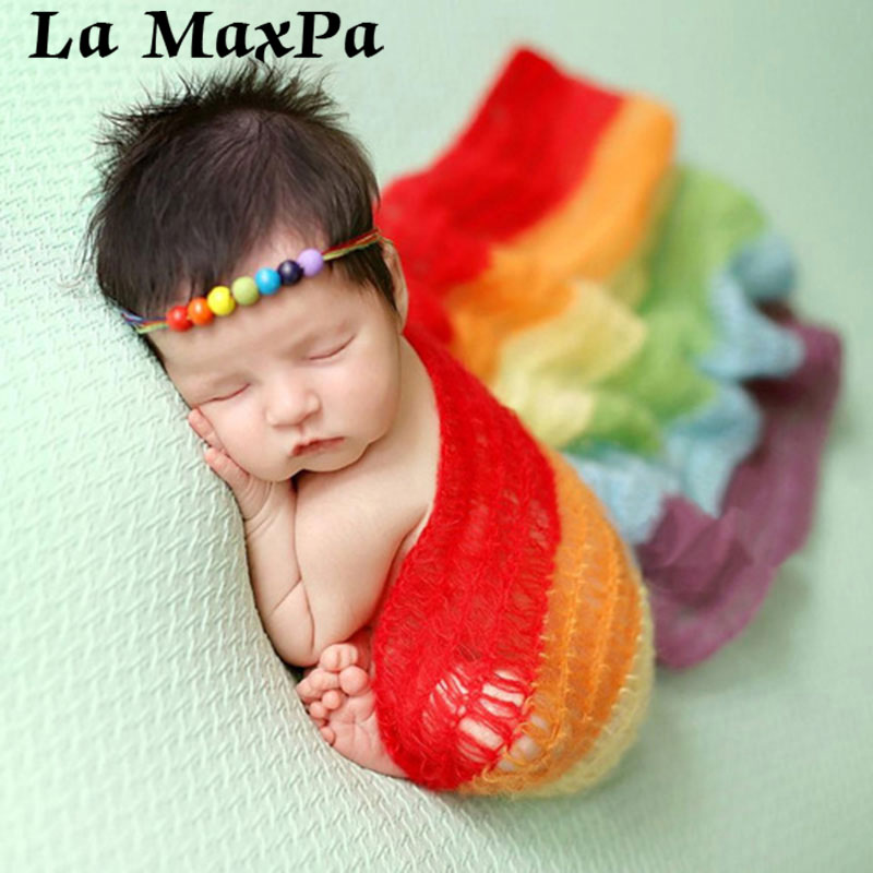 Rainbow Baby Knitted Swaddle Wrap Blankets Soft Warm Cotton Newborn Baby Photography Props Blanket Baby Receiveing Wrap Blanket