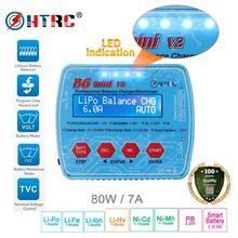 HTRC B6 Mini V2 80W 7A cyfrowy RC zabawka do utrzymywania równowagi z ładowarką odstojnik dla Lipo Lihv LiIon życie NiCd NiMH baterii Adapter AC opcjonalnie