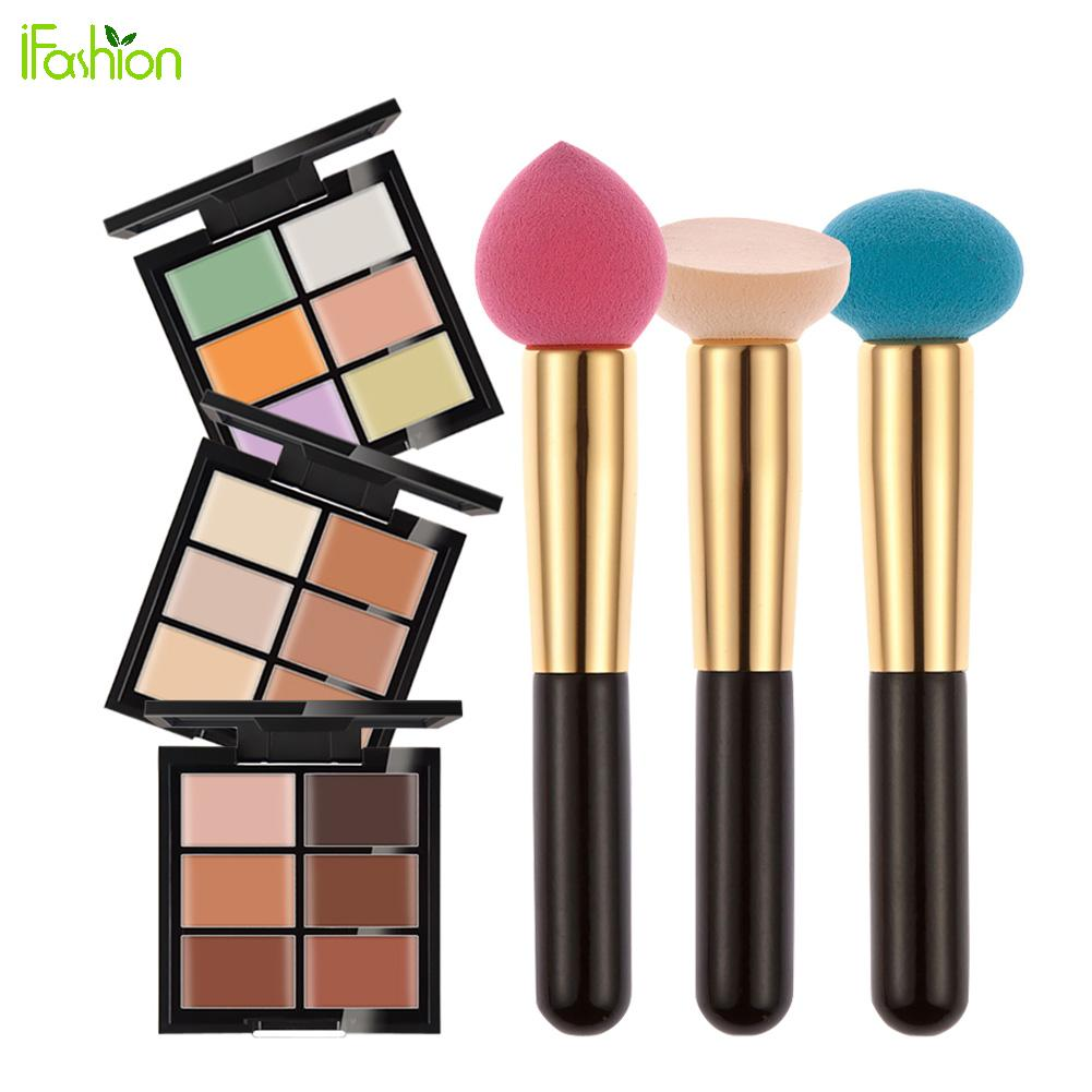 6Color 3D Concealer Eye Face Cream Concealer Palette Contour Kit Makeup Base Foundation Cream Highlighter+Foundation Puff Sponge