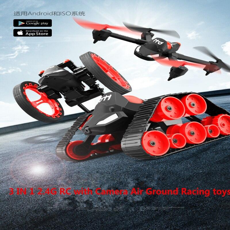 3 dans 1 2.4g 4CH 6-Axe Drone avec Caméra Air Ground Racing jouets Volants rc réservoir avec WIFI caméra temps réel BRICOLAGE Jouets