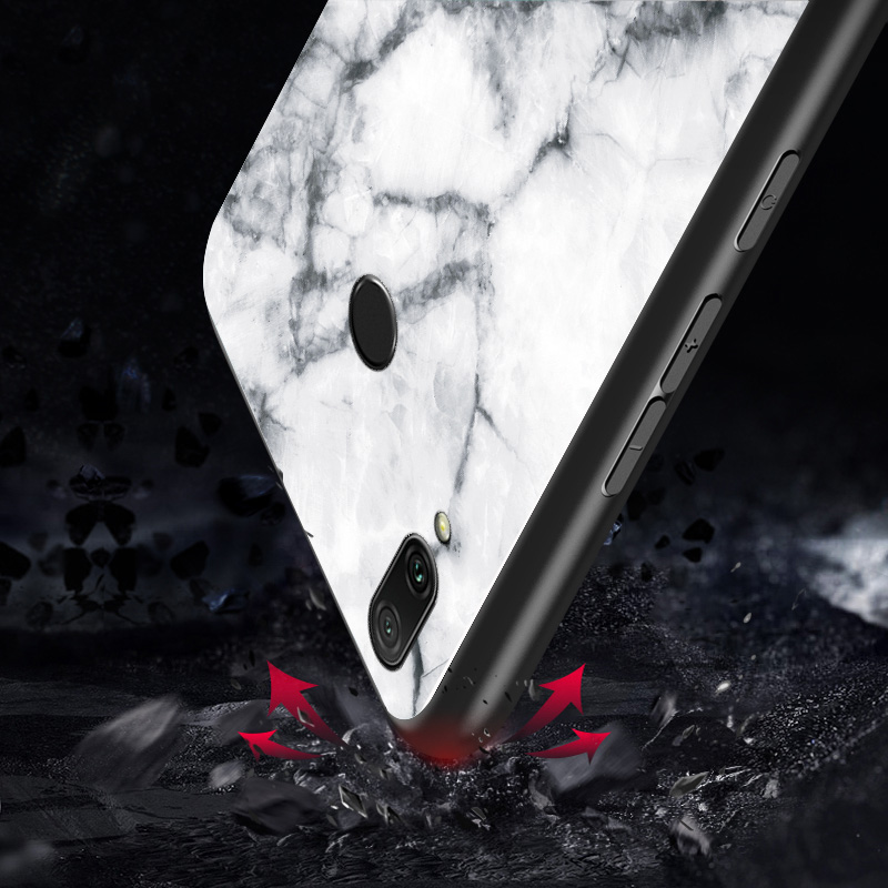 Image 3 - Luxury Marble Tempered Glass Phone Case For Xiaomi Redmi Mi S2 Note 6 7 Pro 5 Plus 4 4X 6A 5A Cover For Redmi 6 Pro Coque Funda-in Fitted Cases from Cellphones & Telecommunications
