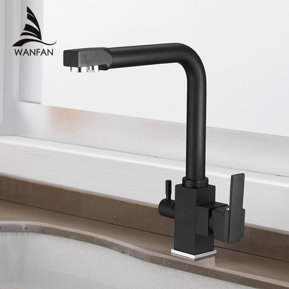 Kitchen Faucets Deck Mount Mixer Tap 360 Degree Rotation with Water Purification Features Single Hole Crane