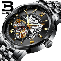 Genuine Swiss BINGER Brand Mens Self Wind Automatic Mechanical Watches Fashion Double Hollow Male Steel Luminous
