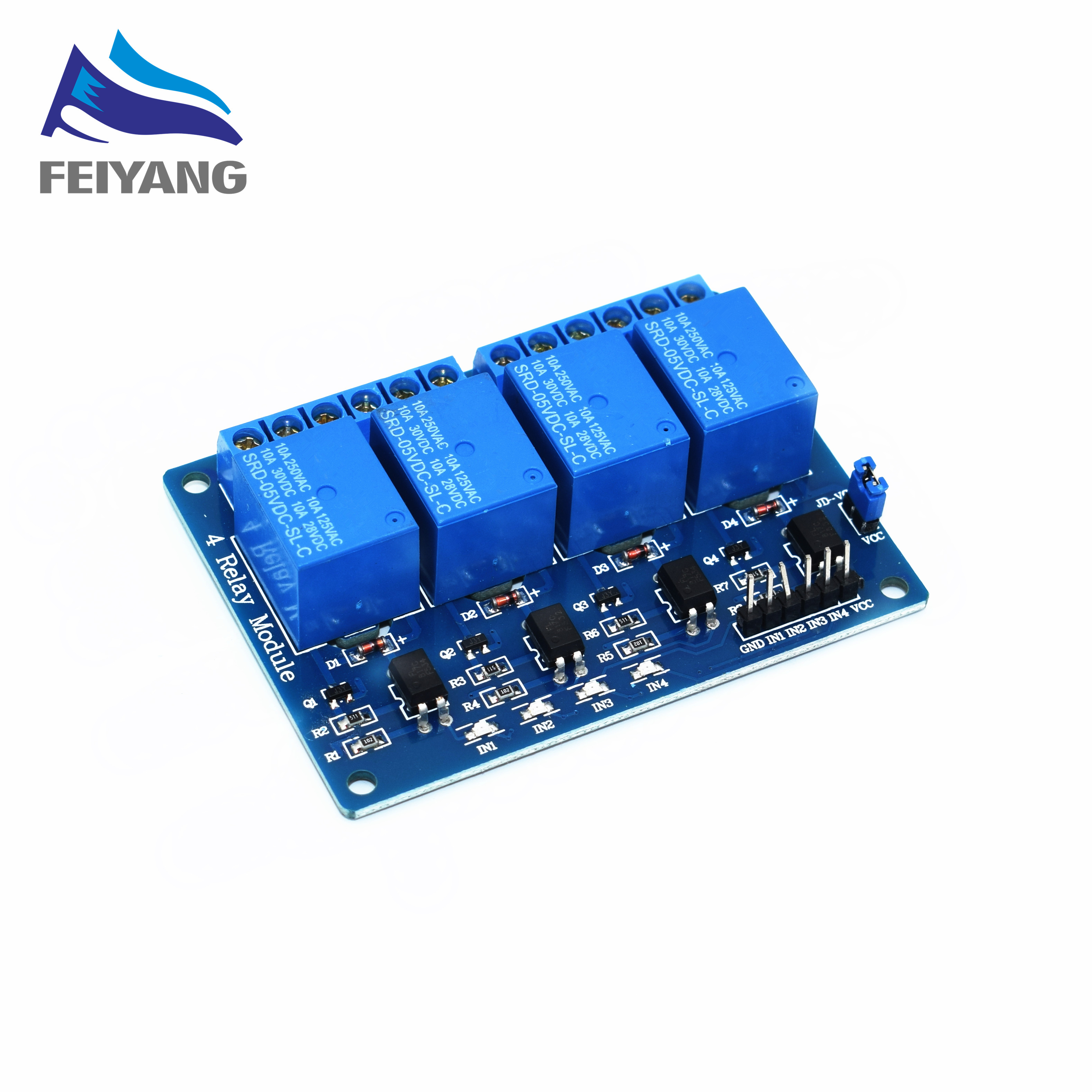 10PCS SAMIORE ROBOT 5V 4-Channel Relay Module Shield ARM PICs