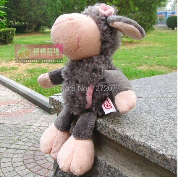 NICI 25cm Flower Gray Sheep Stuffed Plush font b Toy b font Baby Kids Doll Gift